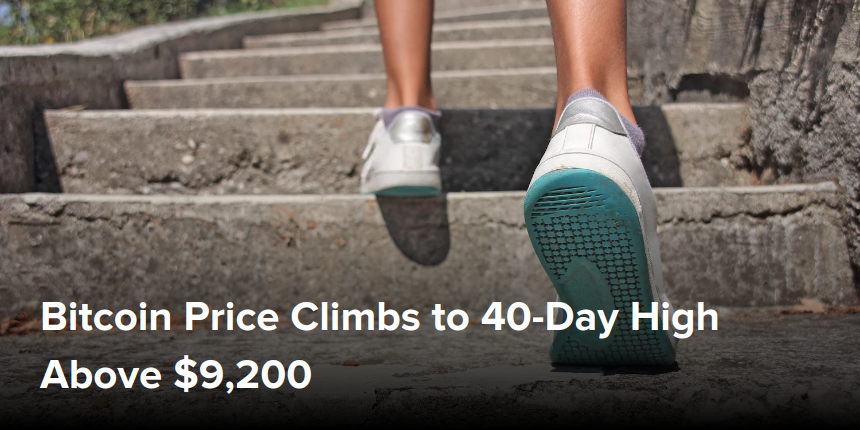 Bitcoin Price Climbs to 40-Day High Above $9,200